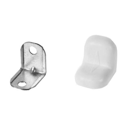 Уголок мебельный с декоративной накладкой 20х20 мм сталь/пластик цвет белый 4 шт.