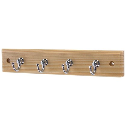 Вешалка настенная для ключей 4/1 крючка 22х4х3 см цвет сосна