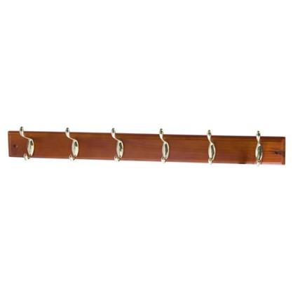 Вешалка настенная для одежды 6/2 крючков 68х9.5х7 см цвет темная сосна
