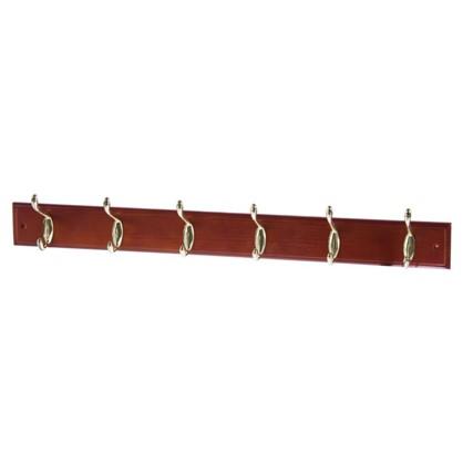 Вешалка настенная для одежды 6/2 крючков а 68х9.5х7 см цвет красное дерево
