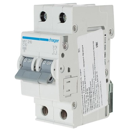 Автоматический выключатель Hager 2 полюса 10 A