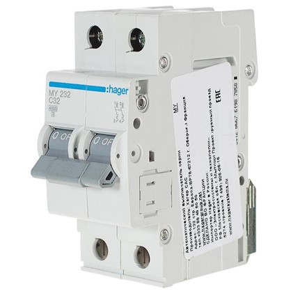 Автоматический выключатель Hager 2 полюса 32 A
