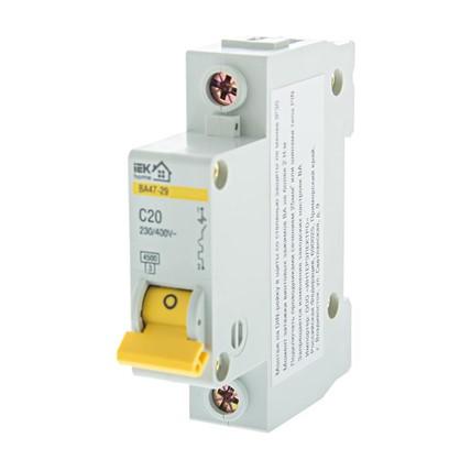 Автоматический выключатель IEK Home В А47-29 1 полюс 20 А