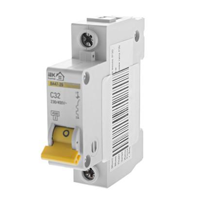 Автоматический выключатель IEK Home В А47-29 1 полюс 32 А
