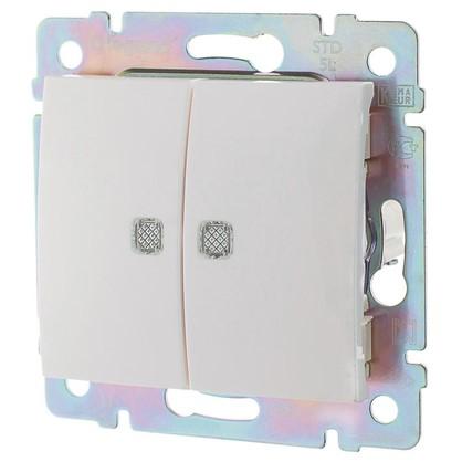 Выключатель Legrand Valena 2 клавиши с подсветкой цвет белый