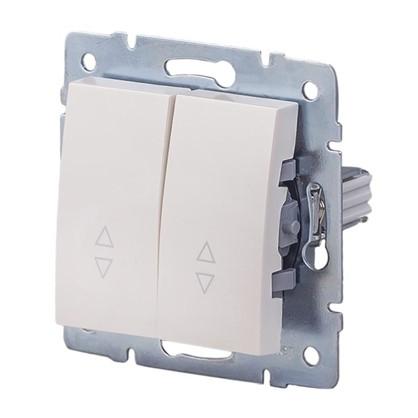 Выключатель Lexman Виктория 2 клавиши проходной цвет жемчужно-белый матовый