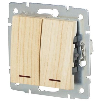 Выключатель Lexman Виктория 2 клавиши с подсветкой цвет дуб беленый матовый