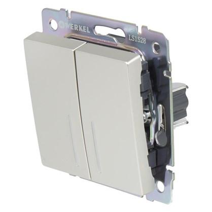 Выключатель Werkel 2 клавиши с подсветкой проходной цвет серебро