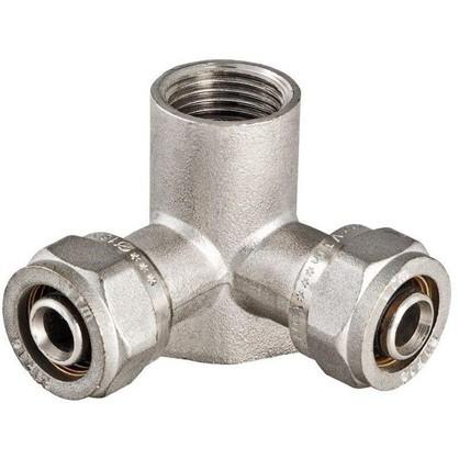 Водорозетка обжимная с двойным выходом 16 мм х 1/2 никелированная латунь