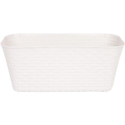 Ящик балконный Ротанг белый 40 см пластик