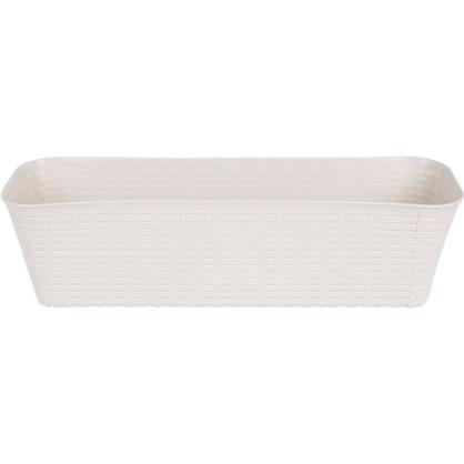 Ящик балконный Ротанг белый 60 см пластик