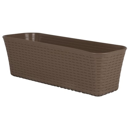 Ящик балконный Ротанг бежевый 60 см пластик