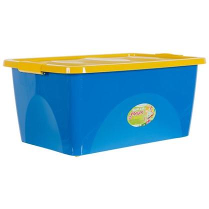 Ящик для игрушек на колесах 600x400x280 мм 44 л цвет синий/желтый