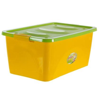 Ящик для игрушек на колесах 600x400x280 мм 44 л цвет желто-салатовый