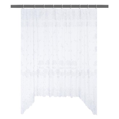 Занавеска для кухни на ленте Лилии 200х165 см жаккард цвет белый