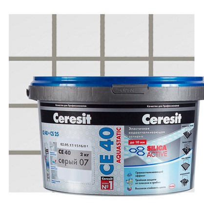 Цементная затирка Ceresit СЕ 40 водоотталкивающая 2 кг цвет серый