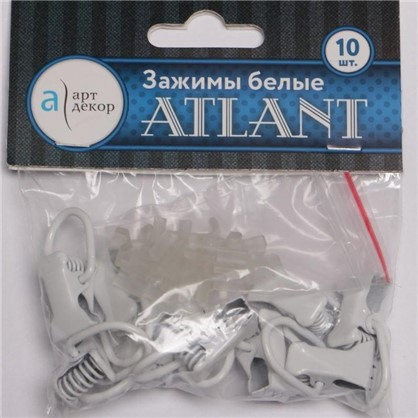 Зажимы Atlant металл цвет белый