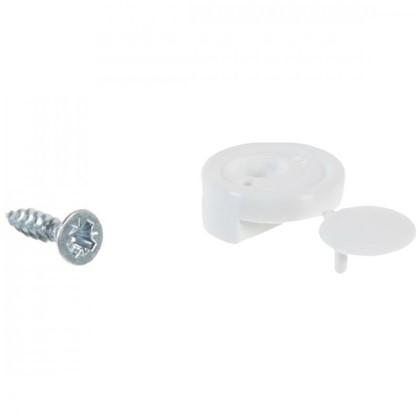 Зеркалодержатель мебельный с шурупом пластмасса цвет белый 8 шт.