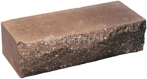Кирпич гиперпрессованный одинарный М-250 коричневый рустированный ложок