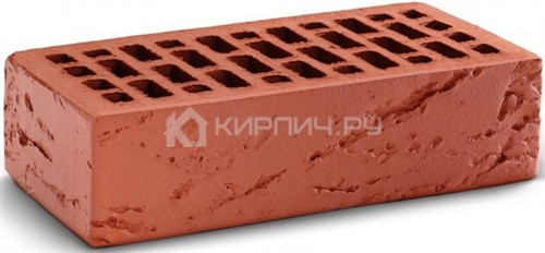 Кирпич облицовочный красный одинарный кора дерева М-150 КС-Керамик в