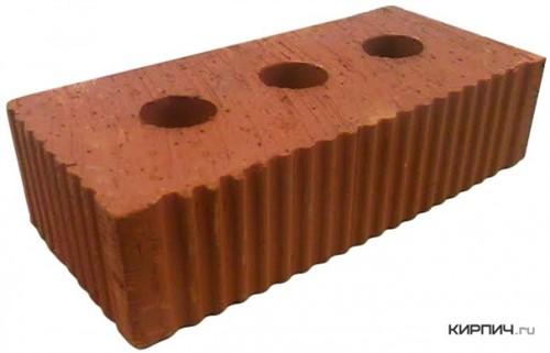 Кирпич строительный полнотелый с тех.пустотами одинарный М-300 рифленый Каширский кирпич