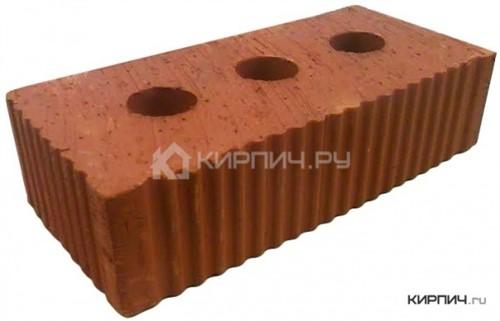 Кирпич керамический полнотелый с тех.пустотами полуторный М-250 рифленый Каширский кирпич в