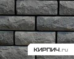 Силикатный кирпич черный одинарный рустированный тычок КЗСК