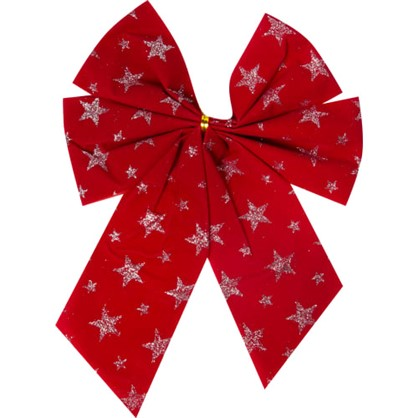Бант Новогодний Красный Со Звездами в