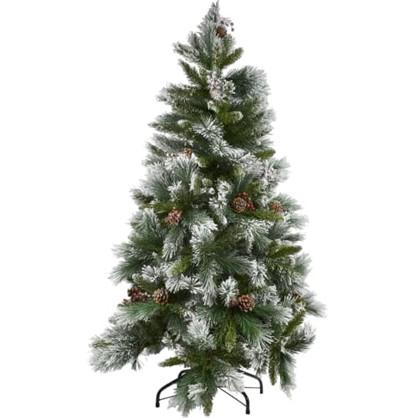 Елка новогодняя искусственная Заснеженная с шишками 180 см в