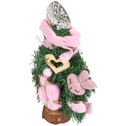 Елка новогодняя искусственная с украшениями на подставке 20 см в