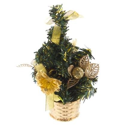 Елка новогодняя искусственная с золотым декором 20 см в