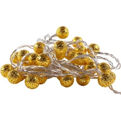 Гирлянда-шнур Золотой декор 40 ламп для комнаты в