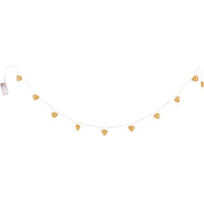 Гирлянда светодиодная Сердце на батарейках цвет хром/золото в