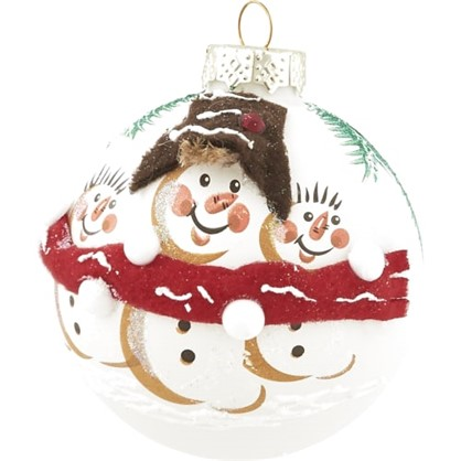 Шар Елочный Снеговичок В Шарфе 8.5 См Стекло Цвет Белый в