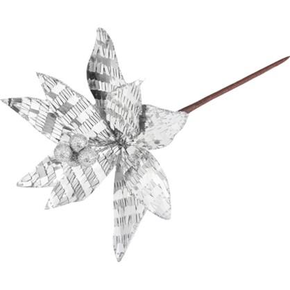 Украшение Листочек Дерева 17 См Цвет Серебро в
