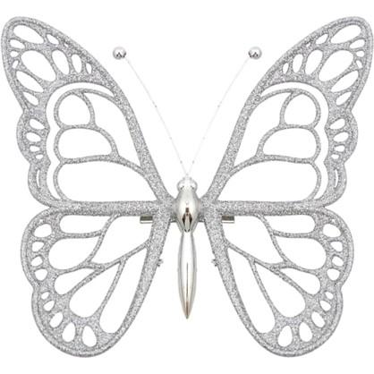 Украшение Новогоднее Бабочка Пластик Цвет Серебро в