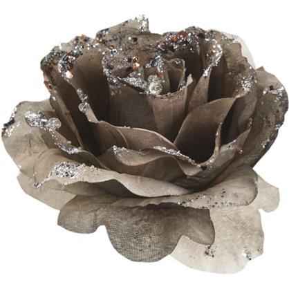 Украшение Новогоднее Цветок С Блестками 8.5 См Пластик в