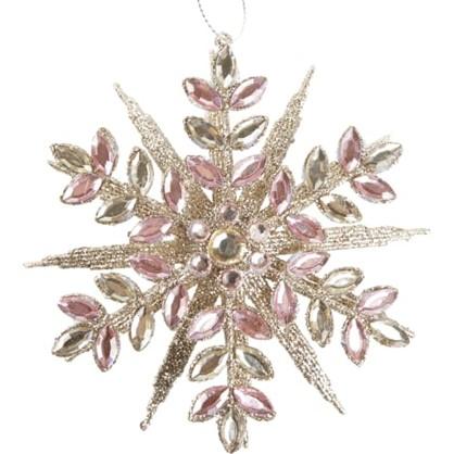 Украшение Новогоднее Снежинка 13 См Цвет Розовый/Золотой в