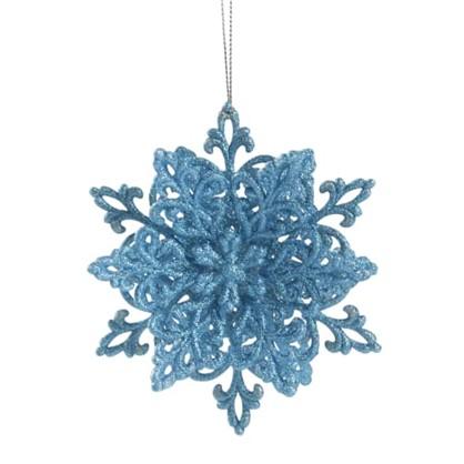 Украшение Новогоднее Снежинка Классика 4 См Пластик Цвет Голубой в