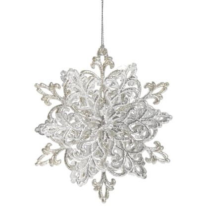 Украшение Новогоднее Снежинка Классика 4 См Пластик Цвет Серебро в