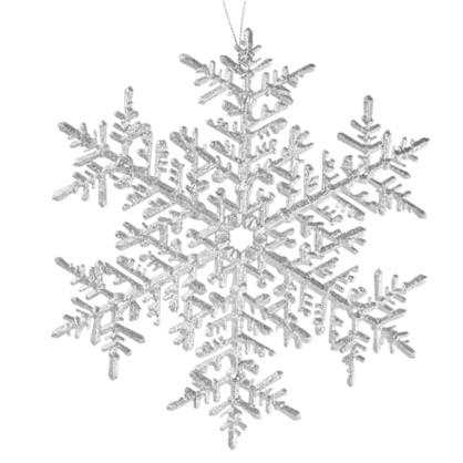 Украшение Новогоднее Снежинка Большая Пластик Цвет Серебро Матовое в