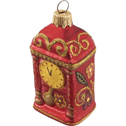 Украшение Елочное Часы-Тумба Хохлома 11 См Стекло в