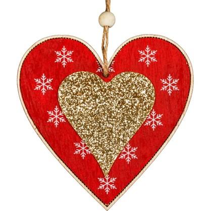 Украшение Елочное Erichkrause Decor Сердце 10.5 См Дерево Цвет Красный в