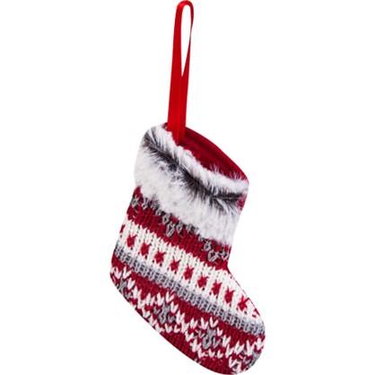 Украшение Елочное Носок 14 См Цвет Красный/Серый в