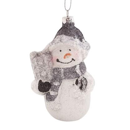 Украшение Елочное Снеговик С Подарком 12 См в