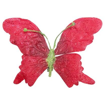 Елочное Украшение Бабочка На Клипсе 19 См Цвет Красный в