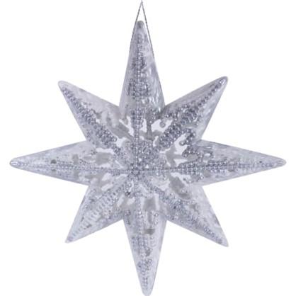Елочное Украшение Звезда Пластик 13 См Цвет Серебристый/Белый